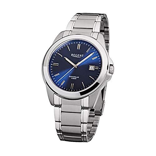 Hombre-reloj analógico elegant Regent acero-pulsera plata cuarzo-reloj esfera azul URF922