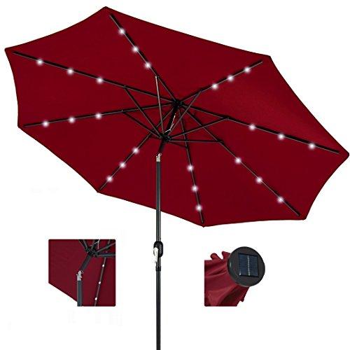 koonlert14 10ft Outdoor Patio Aluminium Umbrella Sunshade UV Blocking Pre-Installed Solar Power LED w/Hand-Crank and Tilt System - Red #1901