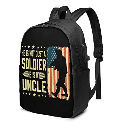 Lawenp My Uncle is A Soldier Hero Proud USB Backpack Zaino per Laptop da 17 Pollici Zaino per Scuola Universitaria da Viaggio d'Affari
