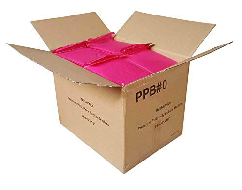 """iMBAPrice 250-Pack #0 (6"""" x 10"""") Premium Hot Pink Color Self Seal Poly Bubble Mailers Padded Shipping Envelopes (Total 250 Bags)"""
