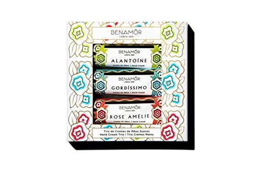 Benamôr - Set de 3 Deliciosas cremas de manos - Colecciones Alantoína, Gordissimo y Rose Amélie - Protege, Nutre, Revitaliza, Perfuma - Paraben, Vegan Free - 3 Tubos de 30 ml