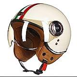 ZLYJ Vintage Casques Moto Bols, Rétro Demi-Casque Harley Casque Face Ouverte de Mobylette avec Visière pour Chopper Cruiser Racing Mofa Pilote Vespa, ECE Homologué