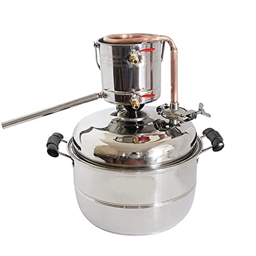 JJIIEE Destilador de Alcohol de 10 l, Kit de elaboración de Cerveza casera, Tanque de fermentador de destilación de Agua sin Gas de refrigeración de Cobre y Acero Inoxidable con Bomba