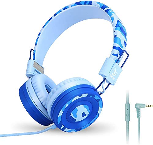 Yomuse C89 On Ear Foldable Headphones with Microphone, Adjustable Headband for Kids Adults, iPhone iPad iPod Computers Tablets Smartphones DVD, Camo Blue