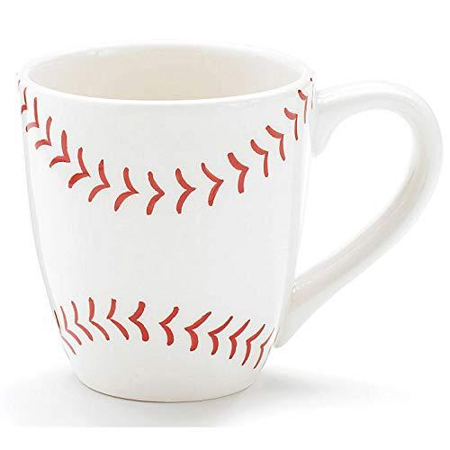 Burton & Burton Baseball 13 oz Ceramic Coffee Mug Great Gift for Sports Fans,white with red baseball pattern,13 ounce