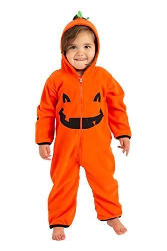 Cuddle Club Fleece Baby Romper Jumpsuit, Pumpkin, 3T
