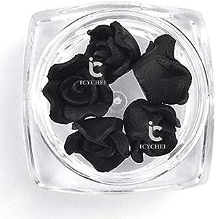 ICYCHEER 3D Nail Art Acryl Rose Bloem Charms voor DIY Decoraties Plakken UV Gel Nail Art Tips DIY Decoraties (Zwart)