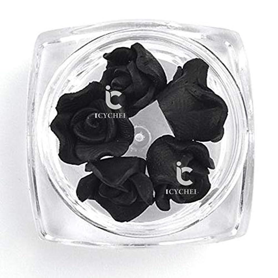 スチュワード動かす福祉ICYCHEER 3D ネイルアートアクリルローズフラワー Diy の装飾スライス Uv ジェルネイルアートのヒント Diy のネイルアート accessoires (Black)