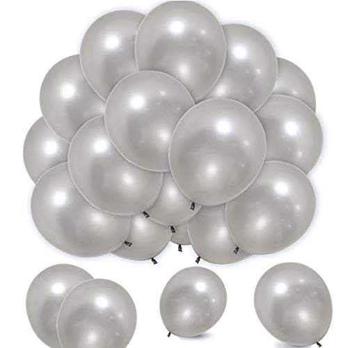 Elecrainbow 100 Count 320 Grams Thickened Silver Balloons for Labor Day, Easter, Birthday, Wedding, Baby Shower, Graduation, Anniversary, 12 Inches