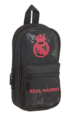 SAFTA 412157747 Astuccio zaino 4 astucci pieni, 33 pezzi, scuola Real Madrid CF nero, 12 cm x 5 cm x 23 cm