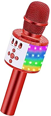 BONAOK Bluetooth Karaoke Wireless Microphone with Controllable LED Lights, Portable Karaoke Machine Speaker Birthday Gift Party Travel Toy for iPhone for iPad,Android,PC (Red)