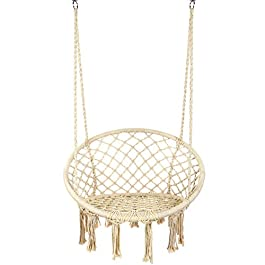 Y- STOP Hammock Chair Macrame Swing – Max 330 Lbs-Hanging Cotton Rope Hammock Swing Chair for Indoor and Outdoor Use