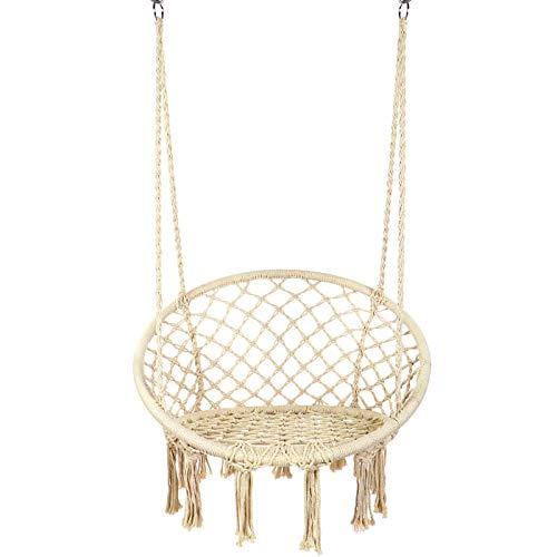 Y- STOP Hammock Chair Macrame Swing - Max 330 Lbs-Hanging Cotton Rope Hammock Swing Chair for Indoor...