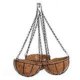 DOITOOL - Cestino da appendere in metallo con rivestimento in fibra di cocco rotondo per piante, per portico, vasi da fiori da giardino, 25 cm