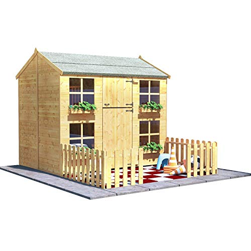BillyOh Gingerbread Max Playhouse | 7x5 Two Storey Wooden Playhouse with Picket Fence | Included Roof, Floor and Felt- Available with Extra Bunk (With Bunk)