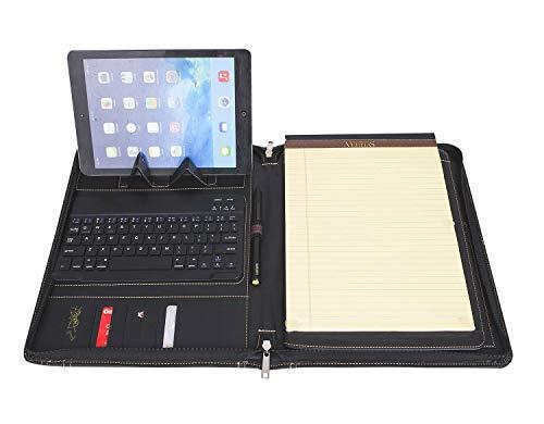 Conferentiemap met tablet-tas, draadloos toetsenbord voor iPad Elegante portemonnee met veel opbergruimte en gratis notitieblok