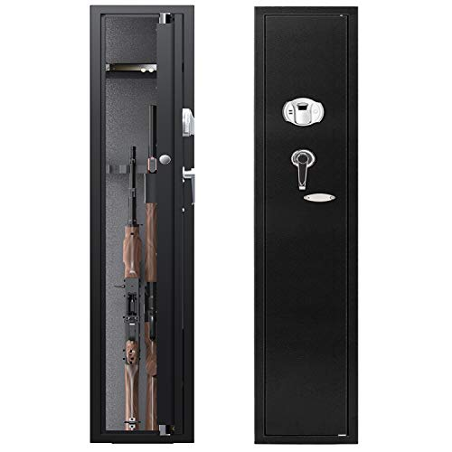 CISNO Biometric Rifle Gun Safes, Quick Access Fingerprint Rifle Gun Cabinet, Large 4-Gun Storage Rifle Safes with Handgun Holder (Fingerprint 4 Rifles)