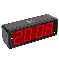 KWANWA Digital Alarm Clock Large Display with 1.8 LED Numbers, Battery Operated Only, 12/24H Time Display, Snooze and Loud Alarm