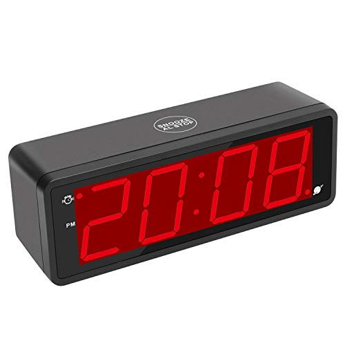 "Kwanwa Digital Alarm Clock Large Display with 1.8"" LED Numbers, Battery Operated Only, 12/24H Time Display, Snooze and Loud Alarm"