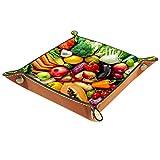 LynnsGraceland Bandeja de Cuero - Organizador - Surtido de Frutas y Verduras Frescas. - Práctica Caja de Almacenamiento para Carteras,Relojes,Llaves,Monedas,Teléfonos Celulares y Equipos de Oficina
