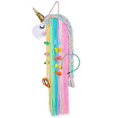 Basumee Unicorn Hair Clip Organizer for Girls Wall Hanging Decor and Baby Hair Bow Holder, Rainbow Unicorn