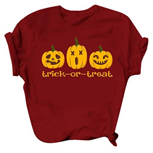 Fasclot Women's Halloween Round Neck Short Sleeve Pumpkin Print Top Blouse T-Shirt Wine 3XL