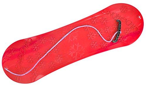 MARMAT Snowboard FÜR Kinder Schlitten Board 77cm Kunststoff mit Seilgriff Plastik (Rot)