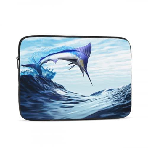 Maletín para Ordenador portátil para Hombre Beautiful Fish Blue Marlin Salta a la Onda Maletín para Ordenador portátil Moderno Maletín para Tableta Maletín de Transporte para Oficina Traba