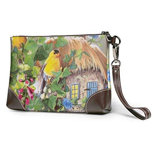 bolso de mano de cuero para mujer Monederos Carteras de teléfono de embrague Casa de pájaros amarillos Cartera pequeña de cuero Monederos Bolso de mano