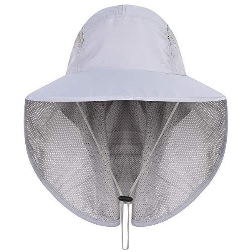 HAPPYPOP Unisex UV Schutz Sonnenhut mit Nackenschutz 12cm Großer Brim Outdoor Aktivitäten - für Kopfumfang 56-62cm (Grau)