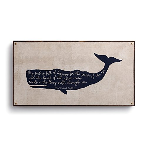 DEMDACO Whale Longfellow Rustic White 22 x 12 Wood Composite Canvas Wall Art Plaque Sign