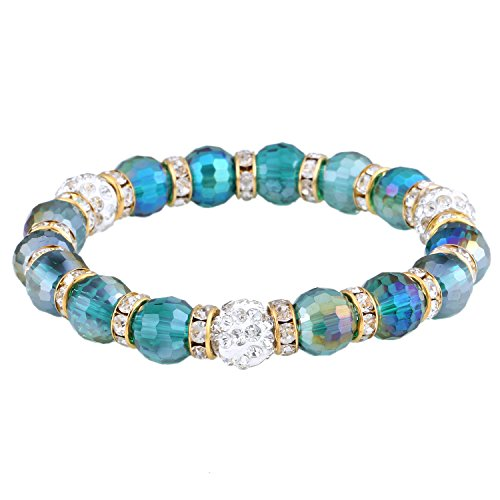 Morella Damen Armband mit facettierten Glasperlen und Zirkonia Beads elastisch Petrol Gold