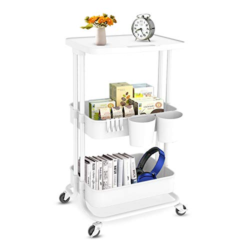 Bextsrack 3Tier Rolling Utility Cart with Wheels MultiPurpose Rolling Storage Carts with Cover Plate and Handle Mobile Storage Organizer for Kitchen Bathroom Office White