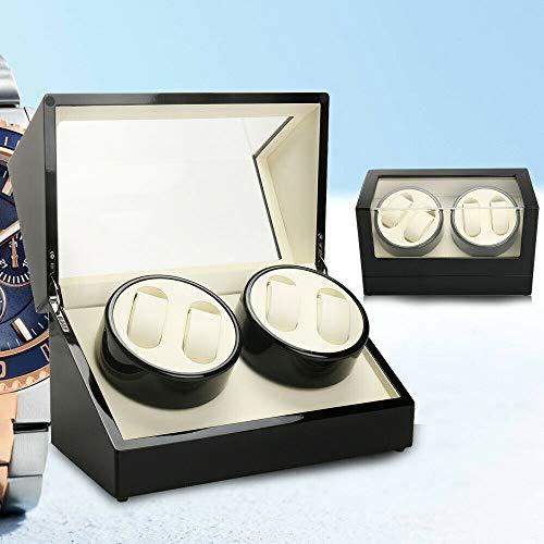 4 + 0 carica orologi in legno, piatto girevole per avvolgimento automatico, scatola per orologi domestici (nero)