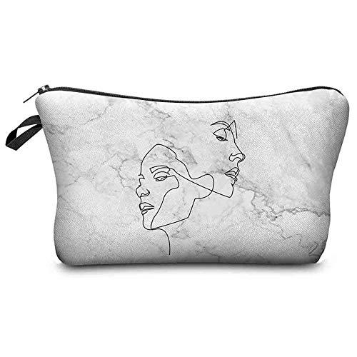 Trousse à Maquillage Creative Toiletry Handbag Fashion Print Wash Marble Print Bags7,1 (L) x0,4 (W) x5,3 (H) - Black_7.1x0.4x5.3