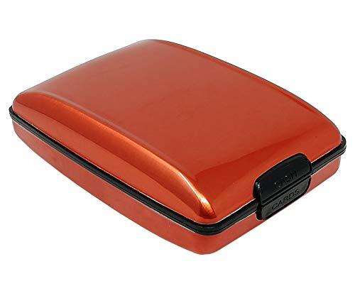 Porta carte di credito, porta tessere antitaccheggio RFID Blocking alluminio portafoglio da uomo e donna (Rame)