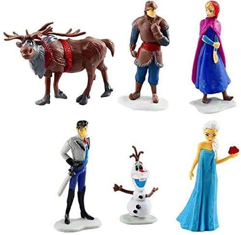 CYSJ 6 Pcs Princesa Congelada Cake Topper Frozen Decoración de Tartas Figuras Decoración para Tarta de cumpleaños de Figuras de Dibujos Animados del Fiesta Suministros
