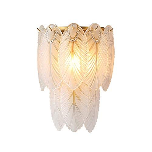 HLY Lámpara de pared con forma de pluma y hoja creativa, moderna y simple. Lámpara de pared con fuente de luz E14 (sin bombilla). Luminarias decorativas para dormitorios infantiles y salas de