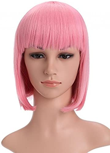 MOCOO High Quality Candy Farbe Straight Flat Bangs Short Bob Hair Wigs Fashion Ladies Cosplay  Party Costume Wigs(Rosa)JF002PK by MOCOO