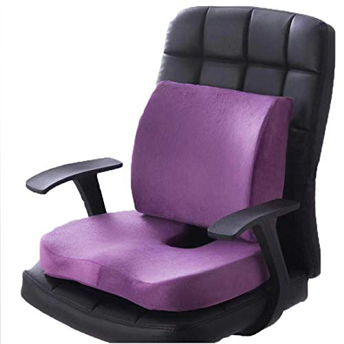 BCLGCF Seat Cushion And Lumbar Support For Car Office Computer Chair Wheelchair - Ultimate Comfort Set Relieves Back Pain, Tail Bone Pain, Sciatica Seat Cushion,Purple