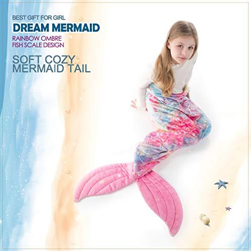 Mermaid Gifts for Girls, Mermaid Tail Blanket for Girls, All Seasons Sleeping Blanket Bag, Rainbow Plush Soft Flannel Fleece Colorful Fish Scale Design Snuggle Blanket