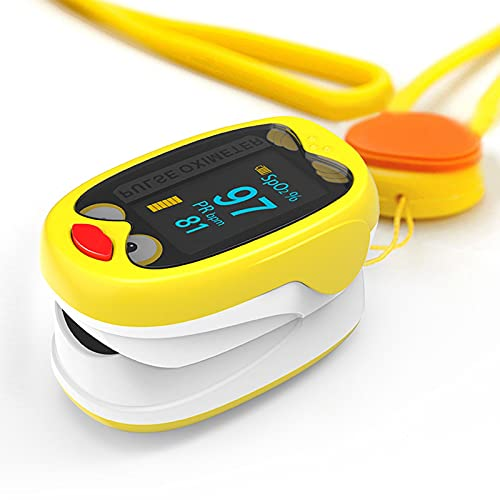 LABE Fingerspitzen-Pulsoximeter, geeignet für Säuglings-Sauerstoff-Sättigungs-Herzfrequenz-Monitor mit automatischem Schlafmodus, 4-Wege-OLED-Display, einschließlich Lanyard (Color : Yellow)