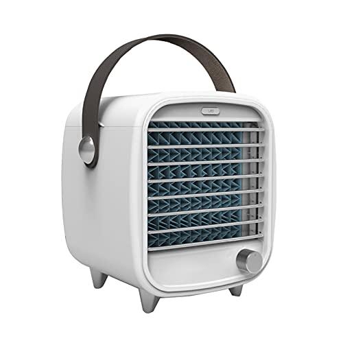 Acondicionador de aire portátil Ajustable Velocidad del viento, Mini refrigerador de aire evaporativo de escritorio con luz, humidificador de ventilador de refrigeración personal para la oficina en ca