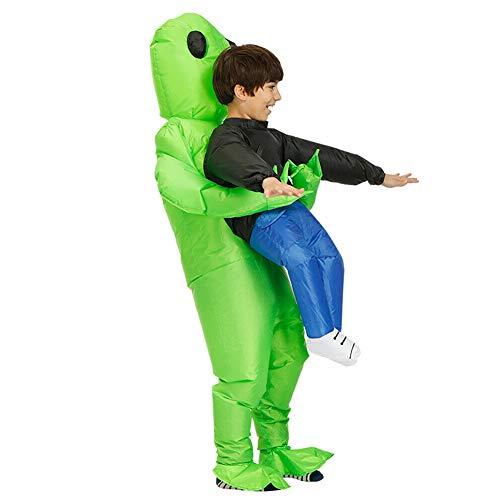 Reuvv grünes, aufblasbares Alien-Kostüm, lustiger Aufblasanzug, Cosplay-Kostüm, für Partys und Halloween, Polyester, grün, S-kid