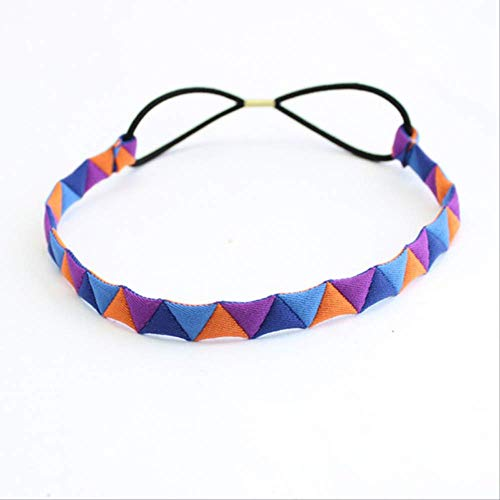Bande de cheveux pour femmes Bande de cheveux élastique Tissu Multicolore Triangle Patchwork Hit Couleur Mignonne Coiffure Sauvage 3pcs Violet orange bleu