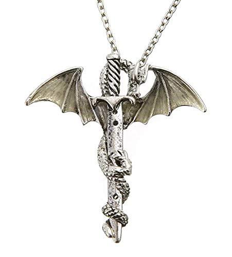 Ketting - draak - gloeit in het donker - gloeit in - lichtgevend - zwaard - slang - symbool - caduceus - kwik - hermet - esoterische partijen - sieraden