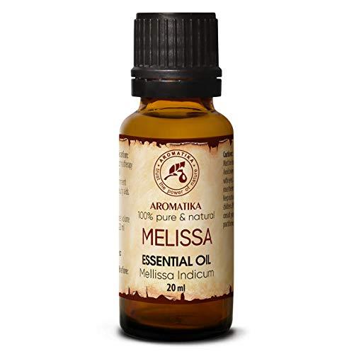 Melissen Öl 100% Naturreines Ätherisches 20ml - Reine & Natürliche Melissenöl - Mellissa Indicum - Indien - Für Guten Schlaf - Raumduft - Aromatherapie - Aroma Diffuser - Duftlampe - Melisse Öl