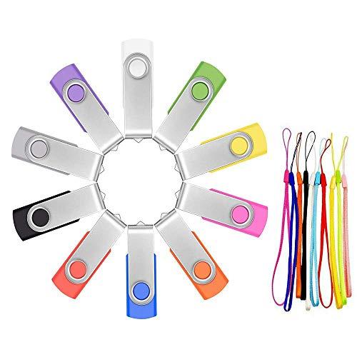 32 GB USB Stick 10 Stück Memory Sticks - Tragbar Bunt Speicherstick 32GB USB 2.0 Flash Laufwerk - Einklappbarer Mehrfarbige Datenablage Pen Drive mit Strick für Werbegeschenke by FEBNISCTE