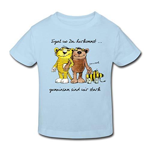 Janosch Bär Tigerente Tiger Gemeinsam Stark Kinder Bio-T-Shirt, 98-104, Hellblau