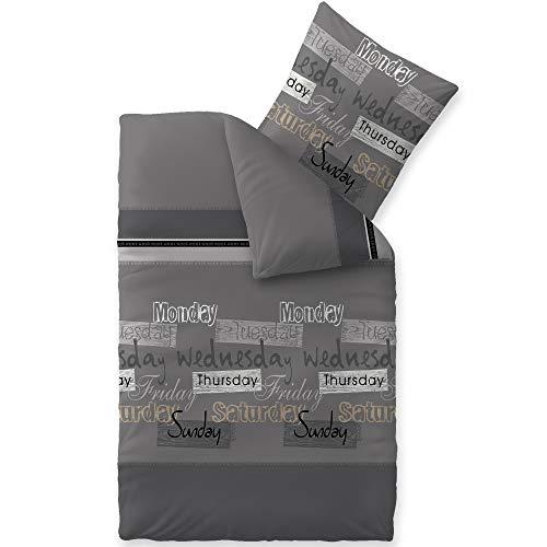 CelinaTex Touchme Biber Bettwäsche 155 x 220 cm 2teilig Baumwolle Bettbezug Carla grau anthrazit schwarz